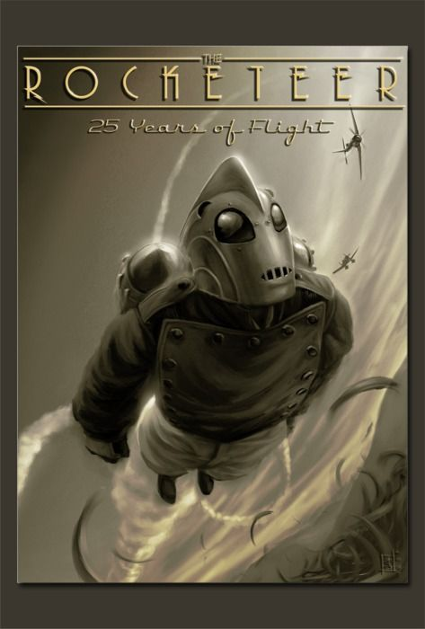 Rocketeer and Sky Captain epitomize dieselpunk - I pinned this picture, there had been not many information's about the origin. Are you the creator of this picture? Please send me a message if I should add any name, link or further information's. Thank you.