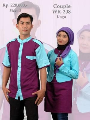 Baju Couple Kaos Kemeja Pria & Blus Wanita WR208 Ungu