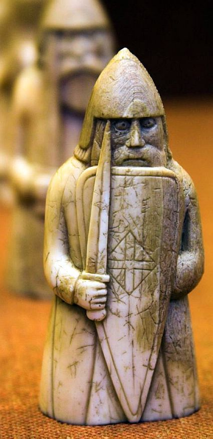 Lewis Chessmen, discovered 1831, carved from walrus ivory and whale teeth in 12th century Norway.