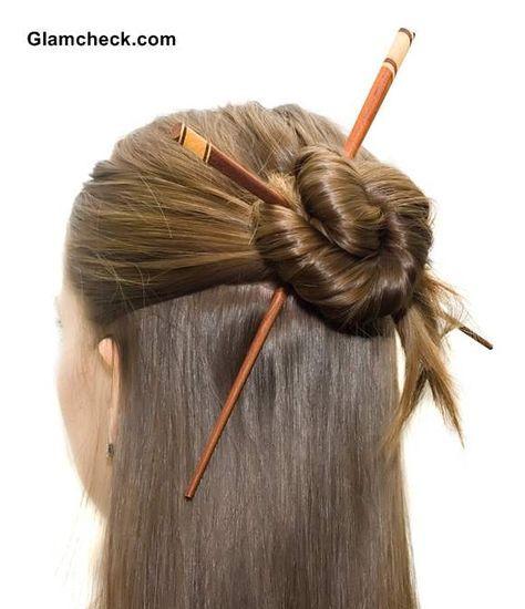 Elegant Half Updo with Asian Hair Sticks