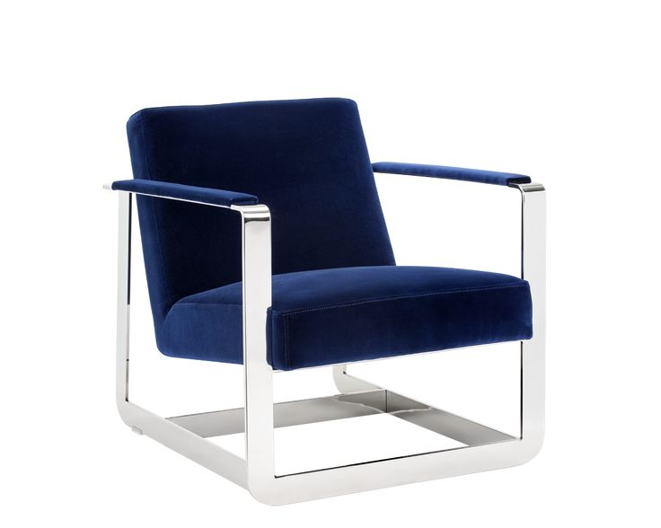 CLEVELANDER ARMCHAIR | GIOTTO NAVY | This ultra modern armchair from our Club Collection is de ned by a bold stain- less steel frame. Stocked in nobility black bonded leather and giotto navy velvet-like fabric. A stunning addition to any contract or residential space.