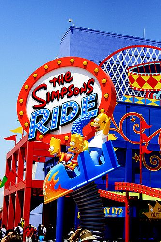 The Simpsons Ride, Universal Studios Florida. My husband avoided rollercoasters all day, then went on this.....he was so scared!!