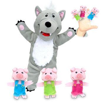 Hånddukke - Den stygge ulv (med 3 små grise)