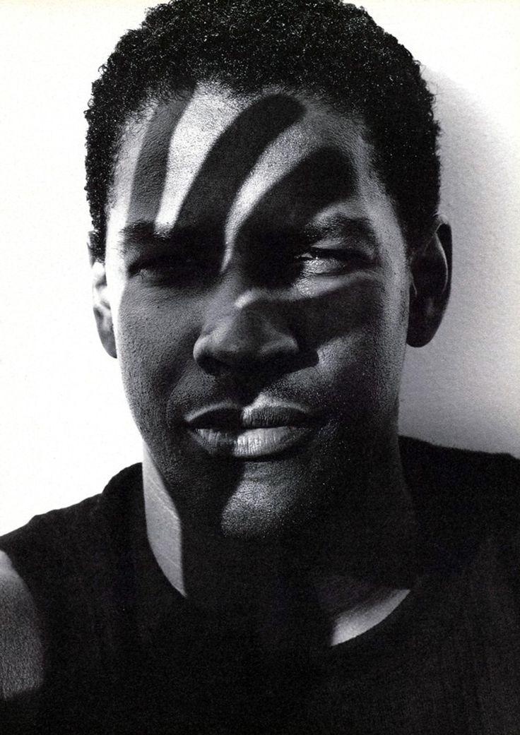 ♂ Black & white photo man portrait Denzel Washington by Herb Ritts