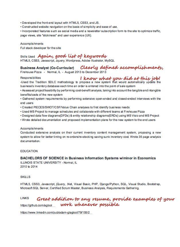 front end web developer resume