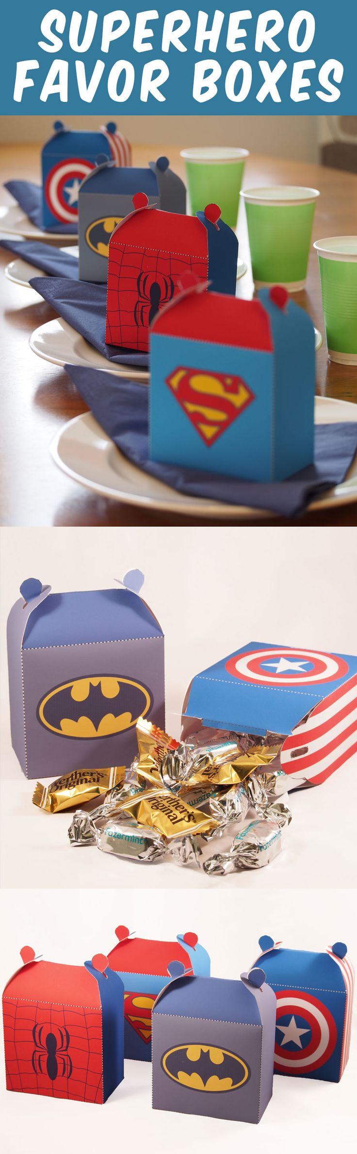 Create 4 superhero favor boxes. Great for a superhero party. Fun Paper Craft