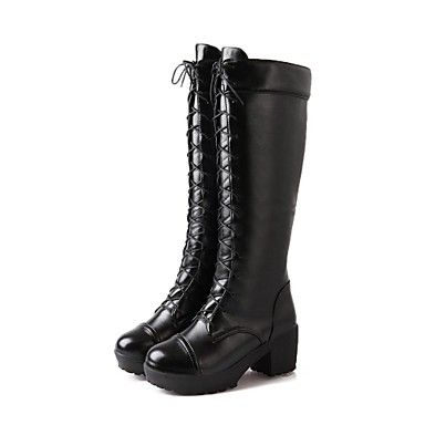 Women's Shoes Leatherette Chunky Heel Platform/Round Toe/Fashion Boots Knee High Boots Boots Dress Black/White – EUR € 34.54