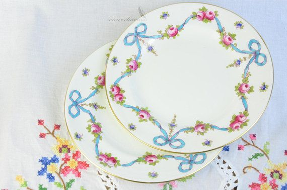 2 Crown Staffordshire England dessert/side plates, pink roses, blue ribbon, blue bows