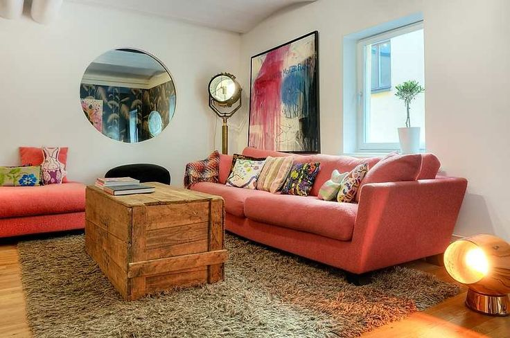 Swedish interior: Pink Sofa, Pallets Boxes, Living Rooms, House Design, Scandinavian Interiors, Swedish Interiors, Pink Couch, Coff Tables, Wooden Crates