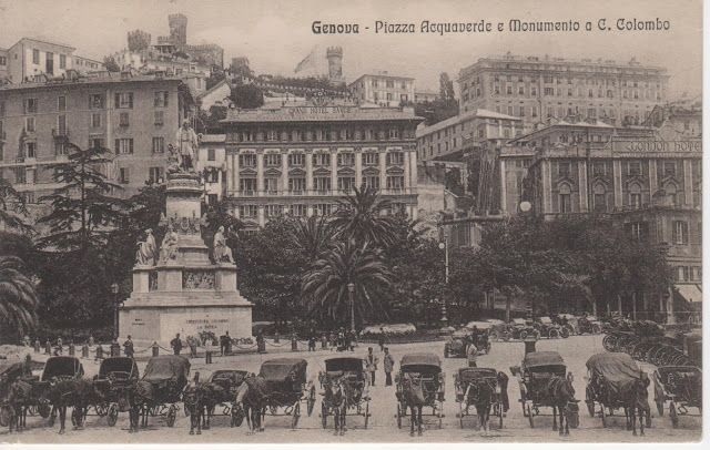 C'ERA UNA VOLTA GENOVA - 1899ca, Piazza Acquaverde (princes' rail station) with the monument to Cristoforo Colombo.