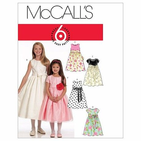 McCall's Patterns M5795 Size CHJ 7-8-10-12-14 Children's/ Girls' Lined Dresses and Sash, Pack of 1, White