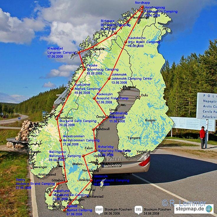 """Auf den nächsten Seiten haben wir unsere 3-wöchige Wohnmobilreise zum Nordkap und zurück beschrieben. Leider haben wir ein """"irgendwie kann ich mich nicht mehr so richtig erinnern Syndrom"""" bei der Beschreibung dieser Reise erlebt....d.h. dadurch das wir es versäumt hatten Aufzeichnungen während der Reise zu machen, war es nach über einem Jahr extrem schwer wieder die einzelnen Campingplätze zu finden und die gefahrene Route nachzuvollziehen. ABER, dadurch das wir viele Fotos gemacht ..."""