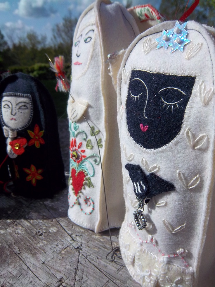 wool dolls and embroidery