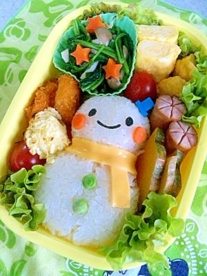 """Snowman"" - japanese recipe/簡単☆ゆきだるまのお弁当♪/キャラ弁  #Charaben #Kyaraben #Bento"