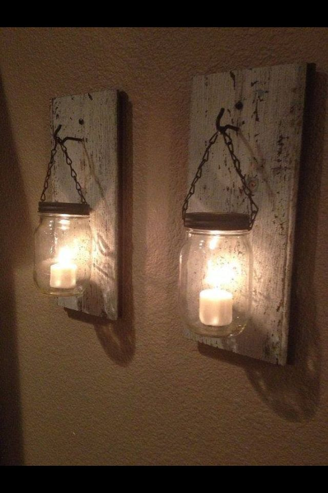 Mason jar lights. I need these in my bedroom! These would be so pretty at night.