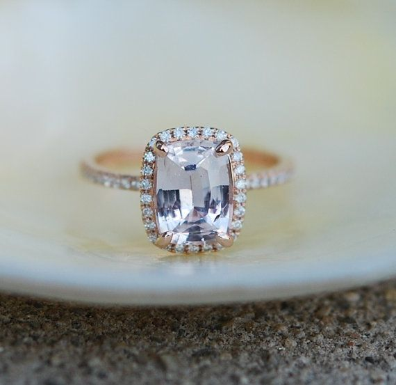 Engagement ring by Eidelprecious. Rose gold engagement ring with Peach sapphire. Peach Champagne Sapphire Engagement Ring. $2,600