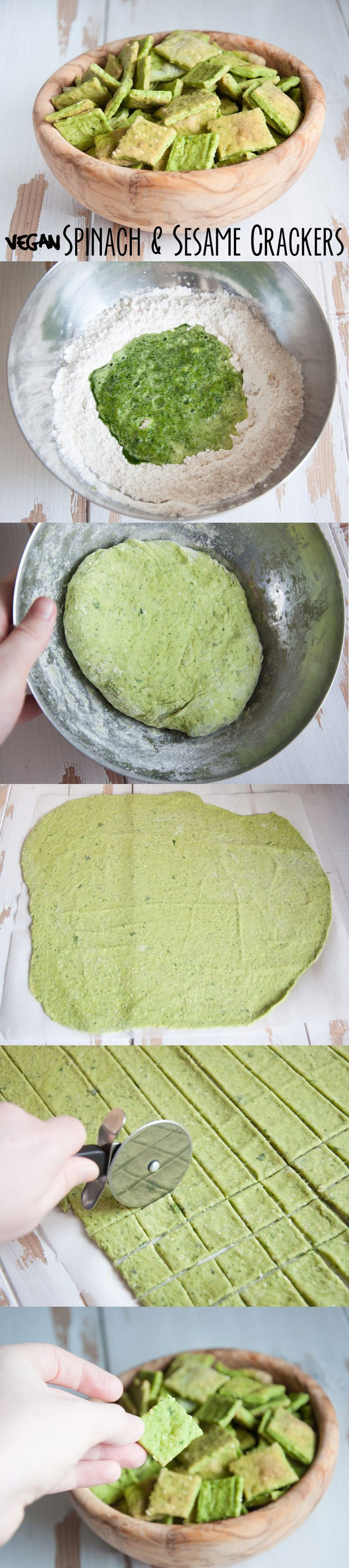 #vegan Spinach & Sesame Crackers from ElephantasticVegan.com, I had to triple the spinach step to get it to blend so I figured it was just under 3/4 c of the spinach liquid for this recipe. You can freeze the rest for a future time or put it in a smoothie. Use less salt.