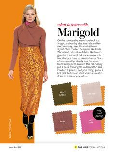 InStyle Magazine Color Crash Course - Google Search #whattowearwith Marigold