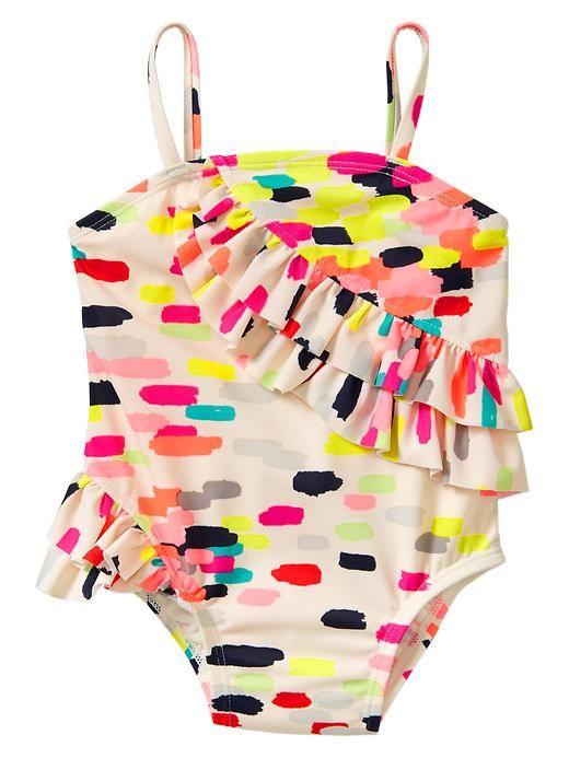 370f2bd2f1df2 Gap | Neon asymmetrical ruffle one-piece | Bambino | Girls bathing suits,  Kids swimwear, Kids fashion