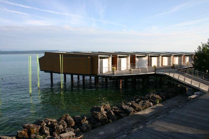 Hotel Palafitte, Neuchatel, Switzerland. The lake awaits direct from every lakeside balcony. www.palafitte.ch