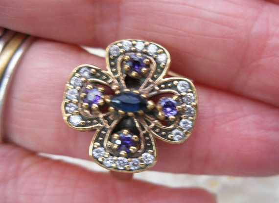 Cocktail ring vintage ring sapphire and by LiloLilsEmporium