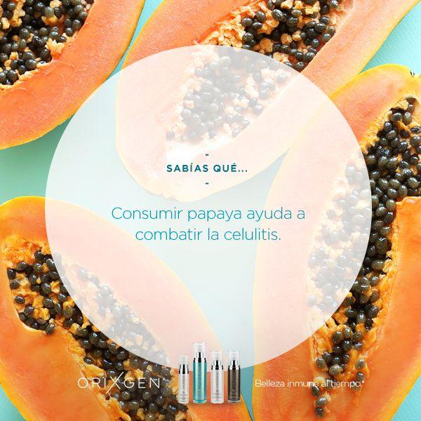 """La papaya es perfecta contra la celulitis gracias a una enzima llamada paína que fracciona las proteínas que están en el origen de la celulitis, y elimina las acumulaciones de grasa, por lo que se convierte en el aliado perfecto en la lucha contra la llamada """"piel de naranja"""" y no olvides exfoliar tu cuerpo con nuestro Gel exfoliante Orixgen"""