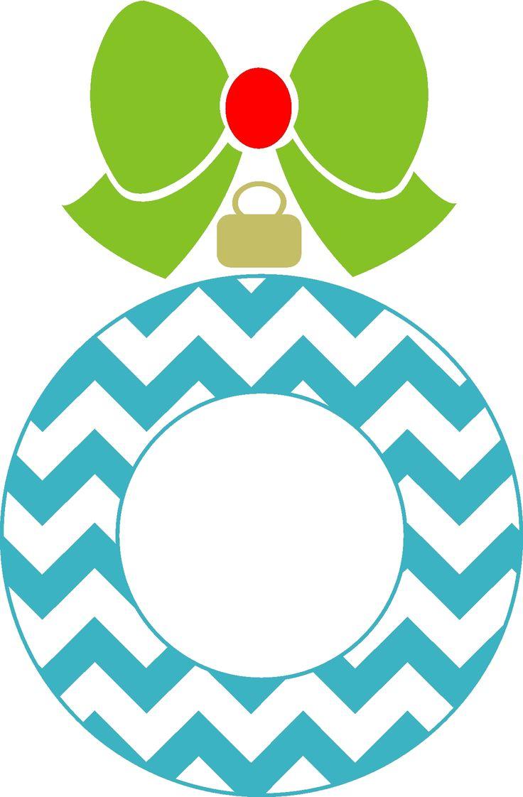Chevron Christmas Ornament Monogram Frame