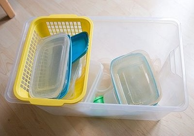fill the large tub (Ikea) with containers and the cheap plastic basket with the tops, slides in and out like a drawer. I'm gonna do this for under the sink!