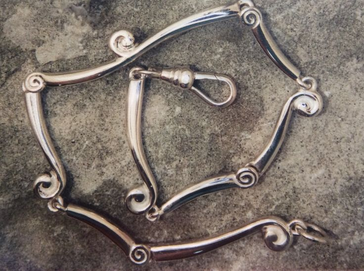 Organic silver necklace of silver korus and frongs