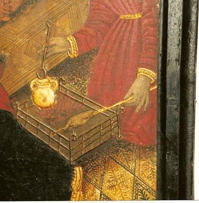 Borja (Zaragoza). Colegiata de Santa María. Retablo de la Virgen y el Niño. Actualmente ubicado, despiezado, en el Museo Diocesano de Borja. Nacimiento de la Virgen María. Detalle. Nicolás y Martín Zahortiga (Contrato fechado en 1460). Pintura al temple sobre tabla. (Foto de Jesús Díaz).
