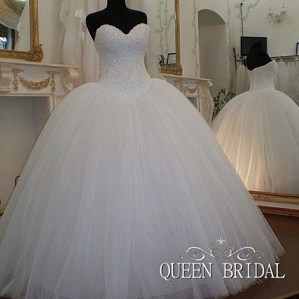 Свадебное пышное платье в блестках