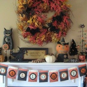 50 awesome fireplace halloween decorating ideas 50 awesome halloween decorating ideas fireplace cute pumpkins interior - Cute Halloween Decoration Ideas