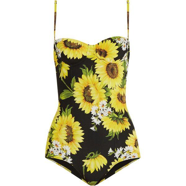 Dolce & Gabbana Sunflower-print balconette swimsuit (€250) ❤ liked on Polyvore featuring swimwear, one-piece swimsuits, swimsuits, bathing suits, bikini, blouses, underwire bra, swim suits, balconette bra and underwire one piece swimsuit