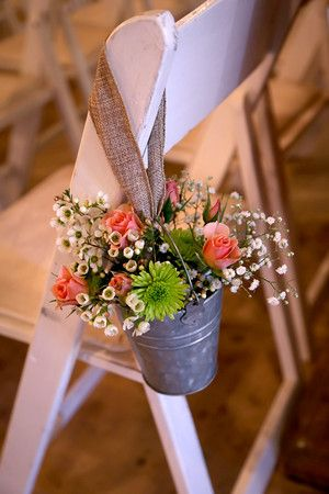 Texas Country Rustic Wedding - church pew or chair decoration