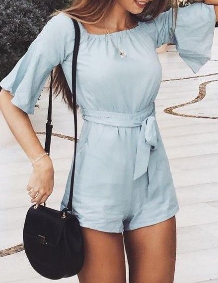 #summer #outfits / light blue playsuit