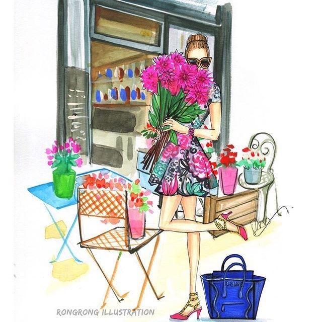 Kate Spade inspired fashion sketch by Houston fashion illustrator Rongrong DeVoe, more daliy fashion sketches on her Instagram @Rongrong-Devoe_Illustration