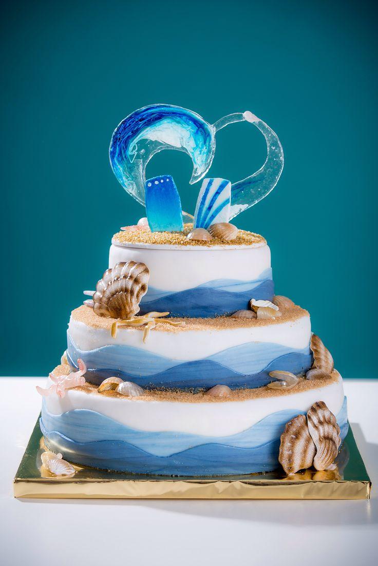 Kite surfer wedding cake I made. Sugar wave and seashells