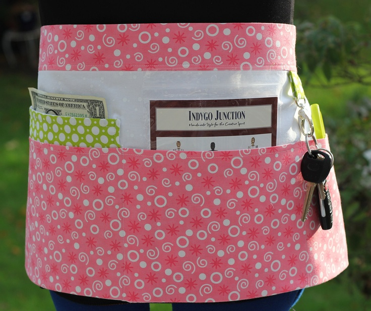 Vendor / Craft / Teacher Apron in Pink, White, and Green with Bubble Dots