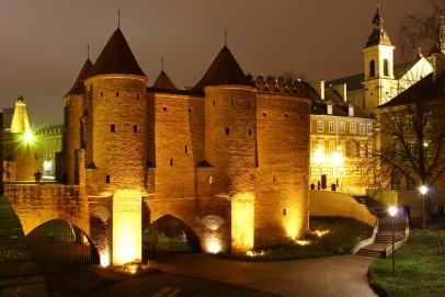 Warsaw Barbican at night, Poland