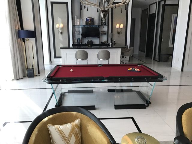 Custom Glass Pool Table Designed By The Billiard Factory For The  Metropolitan Hotel In Las Vegas