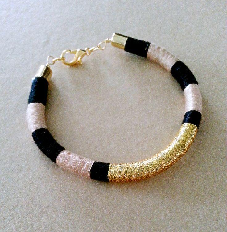 Bohemian Thread Wrap Friendship Bracelet in Black, Beige and Black