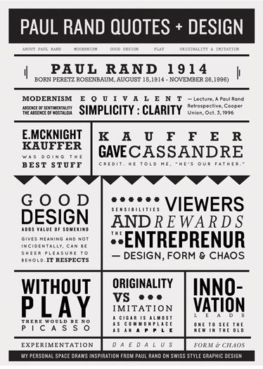Paul Rand quotes poster by Rachel Han #type #typography