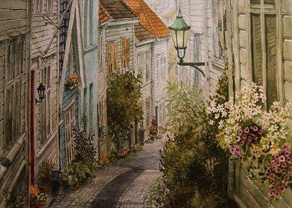 Kunstneren i Bergen: En akvarell fra Knøsesmauet i Bergen