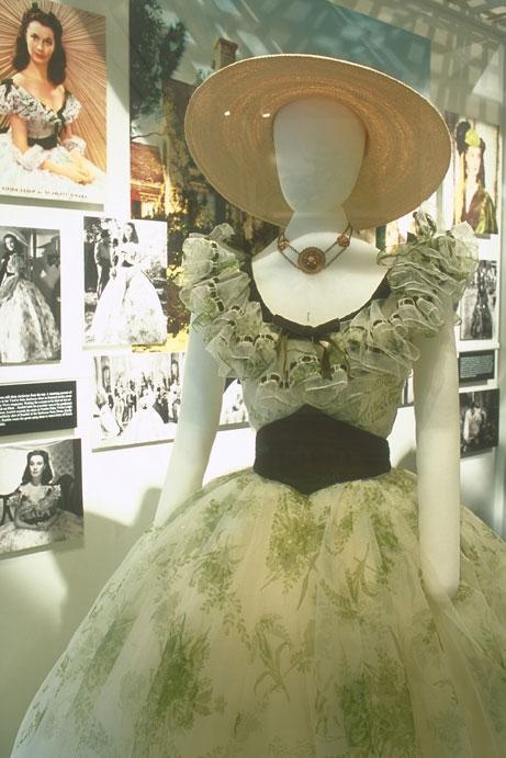 A copy of the dress that Vivien Leigh wore to the Twelve Oaks barbecue in 'Gone With The Wind' is on display at The Road to Tara Museum in Jonesboro, Georgia.