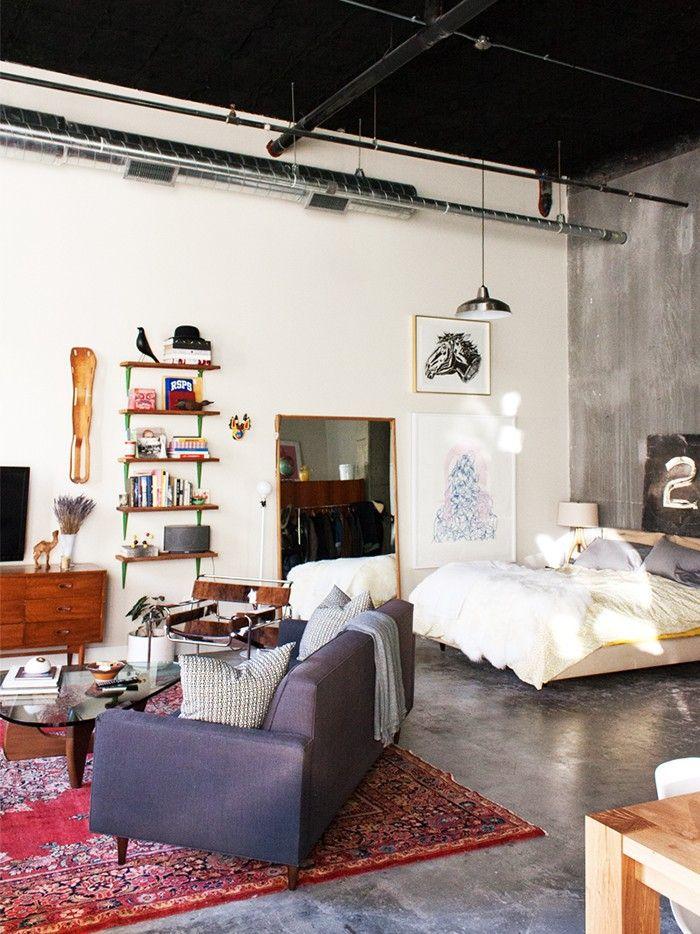 Inside an Artist's Eclectic Open-Plan Loft in Seattle via @MyDomaine