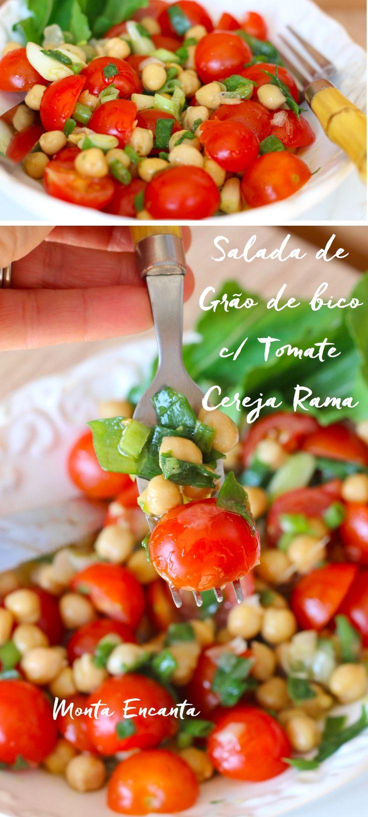 Salada de grão de bico, com tomate cereja rama, pronta num piscar de olhos, basta misturar os ingredientes, levar para gelar e servir com folhas frescas de rúcula baby.