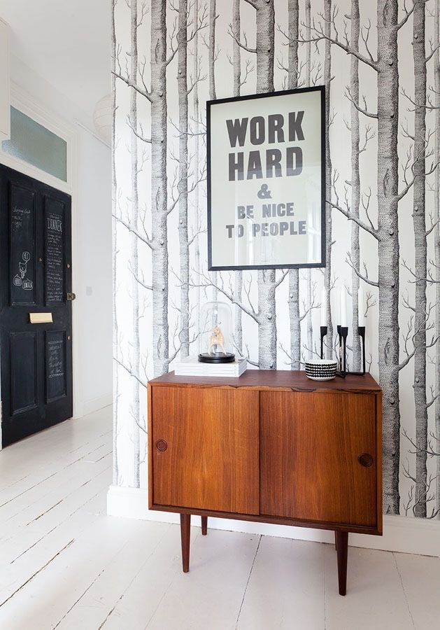 Via Breathe Happiness | Midcentury Credenza | Normann Copenhagen Heima Candle Holder | Cole and Son Birch Wallpaper | Work Hard and be Nice to People Print