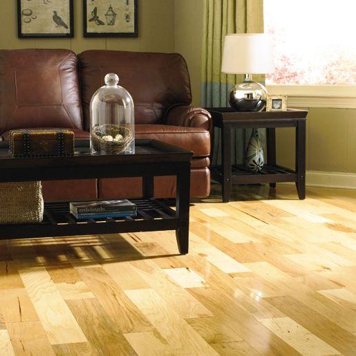Living Room Hardwood Floor: Light Rustic Hickory #hardwood Floors For Living Room