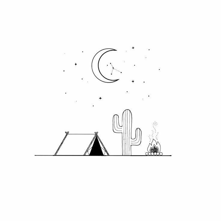 Topic Starry Cactus Desert Illustration Cactus Desert Illustration Starry Minimalist Drawing Mini Drawings Line Art Drawings