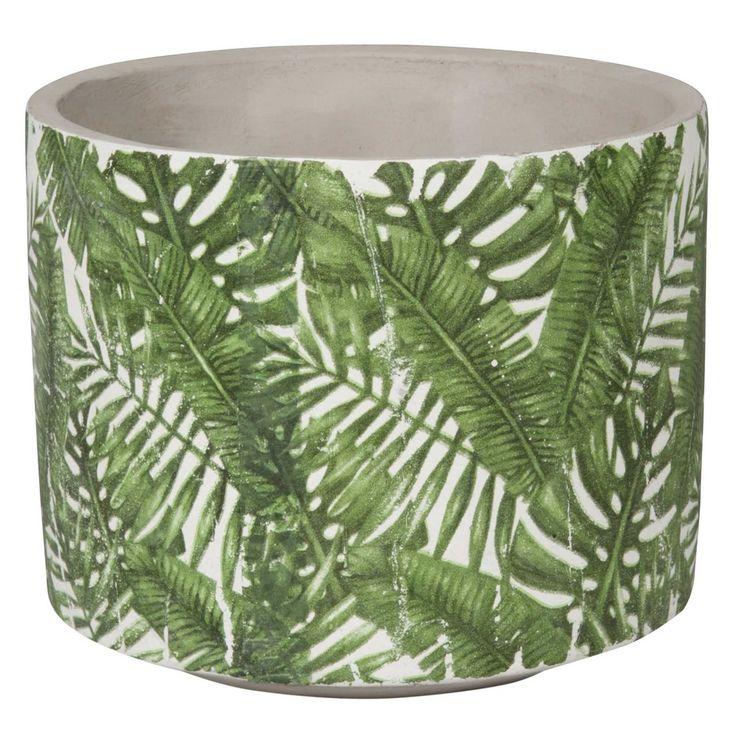 Green Leaf Patterned Ceramic Planter H 13 cm   Maisons du Monde